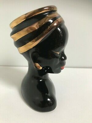 VINTAGE Black & Gold Lady Head Vase African 1950's Very Good Condition