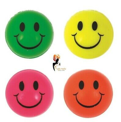 Neon Smiley Face Bouncy Balls, Jet Ball Bouncers Kids Party Bag Toy Gift Filler