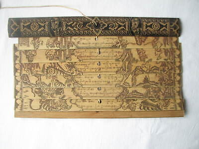 Antique Burmese ? Nepalese ? Prayer Board Hand Scribed and Drawn