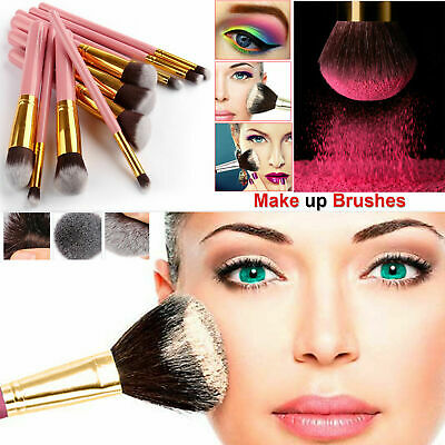 10pcs Professional Kabuki Style Make-up Brush Set Brushes Blusher Face Powder UK