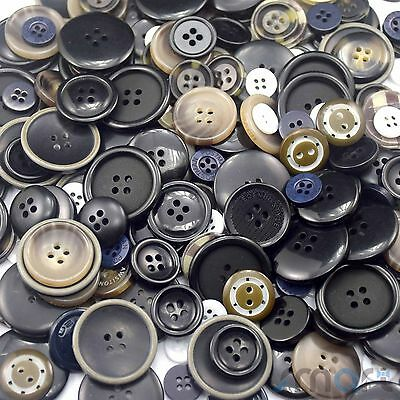 50pcs Assorted Bulk Black Theme Round Resin Buttons Lot Craft Sewing Scrapbook