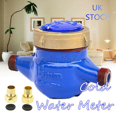 Copper Cold Dry Counter 1/2''15mm Home Brass Flow Measure Tape Water Meter UK