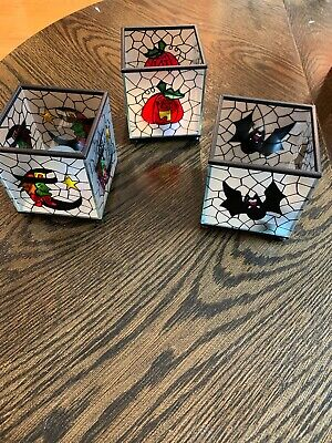 3 Pc Vintage Halloween Candleholders Stained Glass  Bat, Witch, Pumpkin