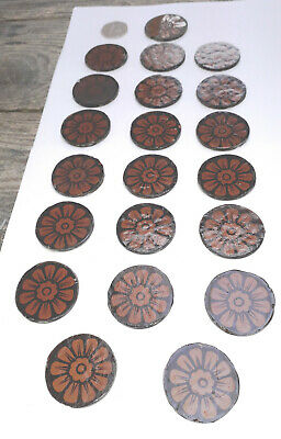 21 x Salvaged early Victorian stained glass roundels - 40mm diameter approx.