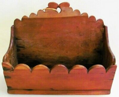 "EARLY ANTIQUE c.1800  PRIMITIVE Cherry WOOD WALL HANGING CANDLE BOX 12"" x 10"""
