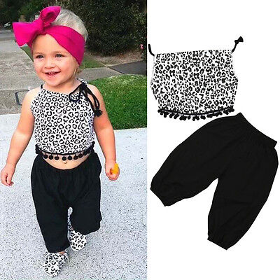 2PCS Toddler Kids Baby Girls Cotton Casual Outfits Spots Tops Blouse+Harem Pants