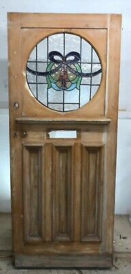 ART DECO 20s 30s STAINED GLASS FRONT DOOR WOOD RECLAIMED OLD ANTIQUE LEAD PERIOD