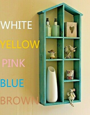 68x28cm Wall Storage Cabinet Shelves Wood Cube Storage bookcase Pink White Blue