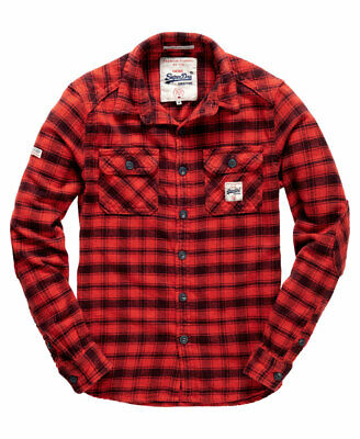 New Mens Superdry Milled Flannel Shirt Red Timber Check