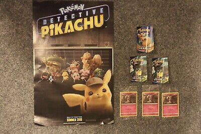 Lot Of Pokemon Detective Pikachu Movie Promo Posters + Trading Cards + Stickers
