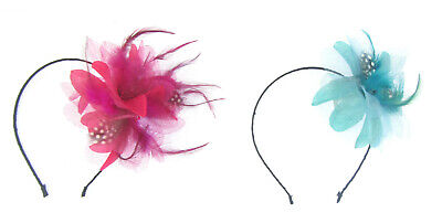 shimmer flower and feather fascinator on an ultra thin band, weddings, races,