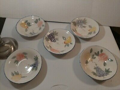 "5 soup / cereal 7 1/2"" bowls  Majesticware by Sakura Orchard Valley Sue Zipkin"