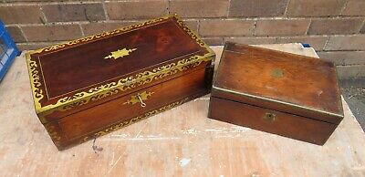 Two Good Quality Writing Slopes For Restoration, Brass Banded Decorations