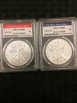 2013-(S) and 2013-(W) AMERICAN EAGLE 1oz Silver Bullion Coins PCGS MS69