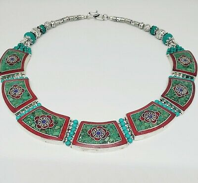 Sterling Silver Turquoise, Coral, Lapis Lazuli Collar Necklace - Flower design