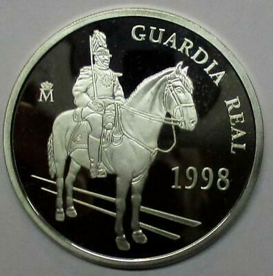 ESPAÑA 5 Euro plata 1998 proof GUARDIA REAL - 1 onza plata pura