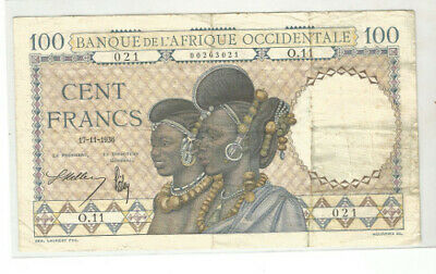*Billet de 100 francs*Banque de l'Afrique Occidentale* 17*11 1936**r *1929*super