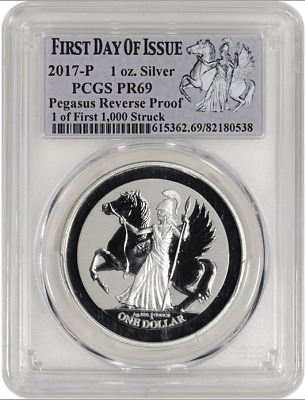 2017-P BVI Pegasus Reverse Proof 1 oz Silver, PCGS PR69. First Day of Issue