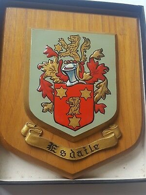 Vintage ESDAILE Heraldic Coat of Arms Crest Wall Plaque Shield hand paint