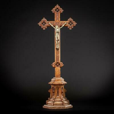 Altar Crucifix Wooden | Standing Cross | Bronze Jesus Christ Crucifixion | 23""