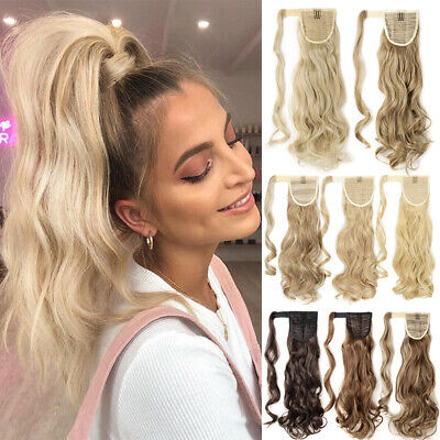 100% Real Wrap on Ponytail Hair Extensions Natural Clip Ponytail as Human Blonde
