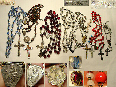 Vtg Antique Broken Rosary Lot 6 Crucifix 7 Centerpiece St.Francis Assisi France