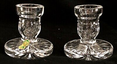 Waterford Crystal Pair of Candlesticks Candle Holders Vintage NEVER Used Ireland