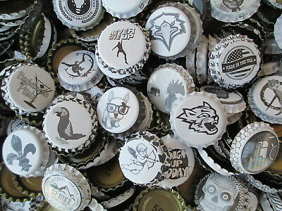 700 (Uncrimped) Black and White -Crown/ Caps for homebrewing beer or crafts, etc