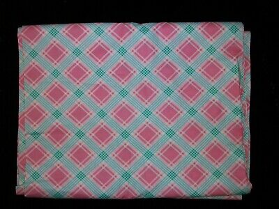 Vintage 30s 40s Mint Green Rose Pink Geometric Cotton Fabric Quilt Apron BTHY
