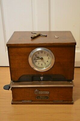 Vintage GENSIGN National Time Recorder Oak Cased Clock