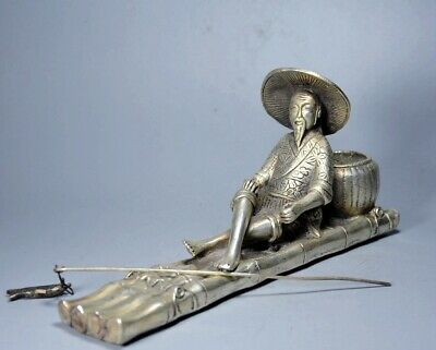 Collectable Chinese Tibet Silver Hand Carve Old Man Go Fishing Delicate Statue