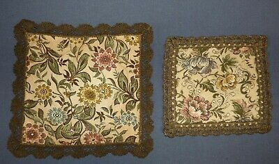 Antique French Victorian Pair of Table Runners Floral Tapestry Metalwork Trim