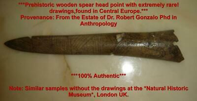 Antique Rare Prehistoric Museum Piece Wooden Wood Spear Point Head With Drawings