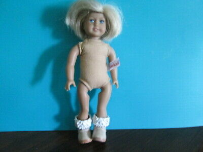 American Girl Mini Doll Short Blond hair Blue eyes nude with boots