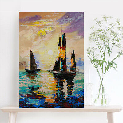 Abstract Hand Painted Canvas Oil Painting Modern Home Decor Framed Sailboat