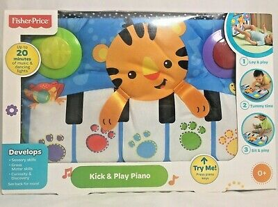 Fisher-Price Kick and Play Piano Infant Tiger Music Lights Developmental Toys