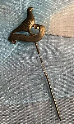 Art Deco Vintage Brass Metal Love peace dove bird scroll stick Pin tie Brooch