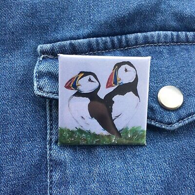 Puffin Button Badge, Square Pin, Scottish Wildlife, Colourful Bird, Brooch, Gift