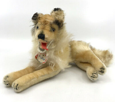 Steiff Collie Dog Lying Fluffy Mohair Plush 25cm 10in ID Chest Tag 1960s Vintage