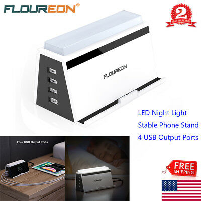 3-in-1 4-Port USB Wireless Charging Station Hub Pad LED Night Light Phone Stand