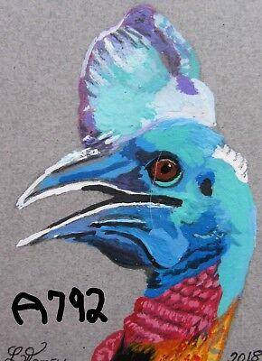 """A792              Original Acrylic Aceo Painting By Ljh  """"Southern Cassowary"""""""