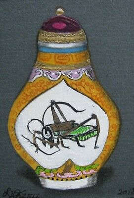 """A639       Original Acrylic  Aceo Painting By Ljh  """"Snuff Bottle"""""""