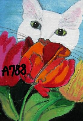 """A788       Original Acrylic  Art Aceo Painting By Ljh   """"Cyrus In Tulips"""""""