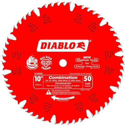 Saw Blades 10 in. x 50-Teeth Combination Fashioned With ATB+R Tooth Grinds