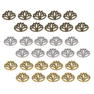 30x Antique Style Lotus Flower Hollow Out Loose Spacer Beads Charms Mixed
