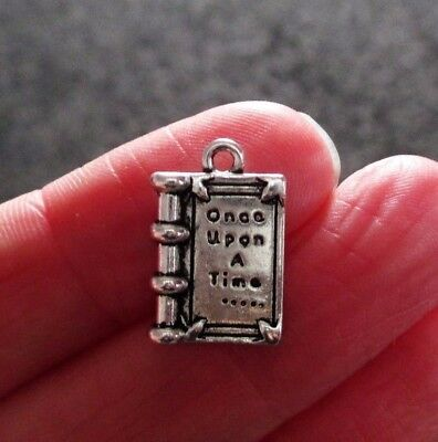 Pack of 10 Tibetan Silver Once Upon A Time Book Pendant Charm 17mm x 12mm