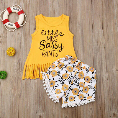 2Pcs Kid Baby Girls Sleeveless Sassy Tops Vest Flower Short Pants Outfit Clothes