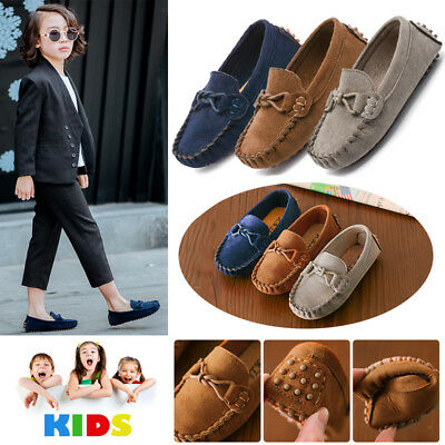 AU Boys Girls Leather Slip On Flat Loafers Moccasins Kids Casual Boat Shoes Size