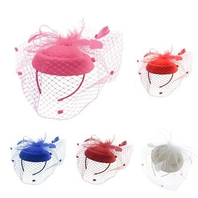 Derby Netting Headband Feather Hair Band Tea Party Bridal Fascinator Hat