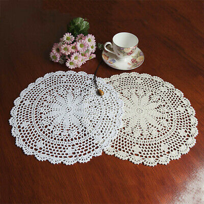 "UK 10"" 25cm White/Beige Vintage Crochet Lace Doilie Doily Doiley Round Handmade"